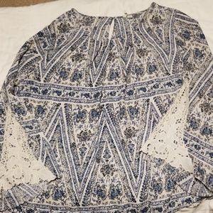 Womens LS peasant blouse